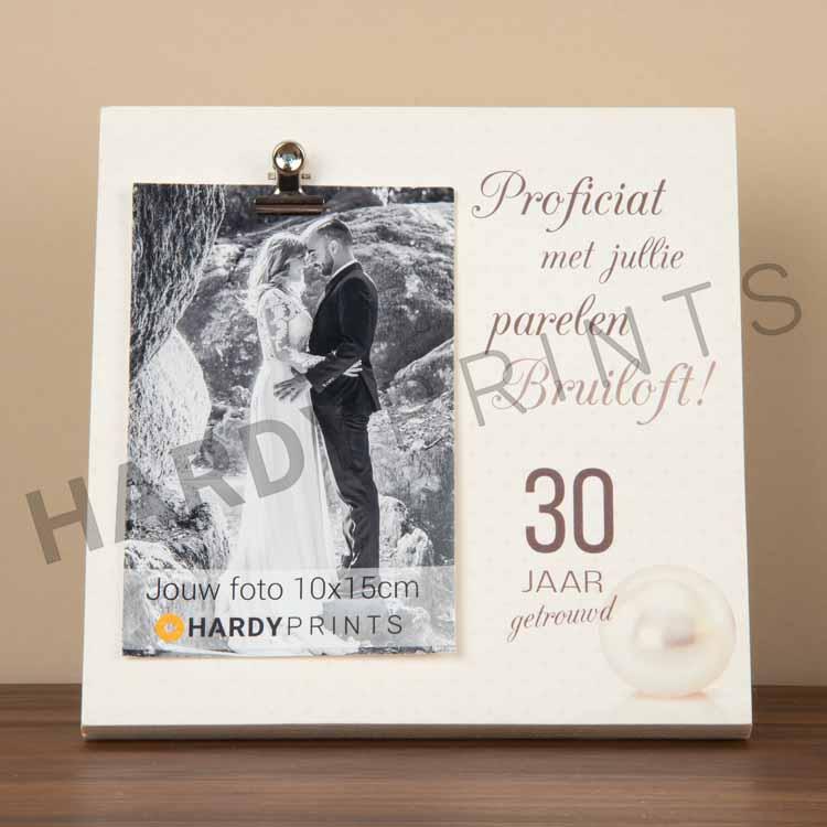 tekstblok Fotoblok 'Proficiat met jullie parelen bruiloft'
