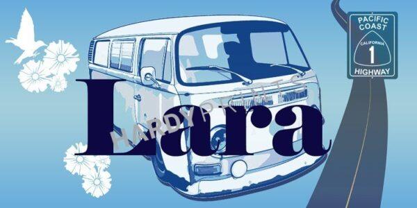 My-Canvas 'Bus lichtblauw' met je eigen naam