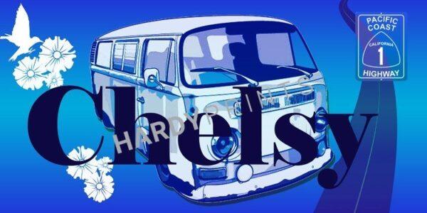 My-Canvas 'Bus donkerblauw' met je eigen naam