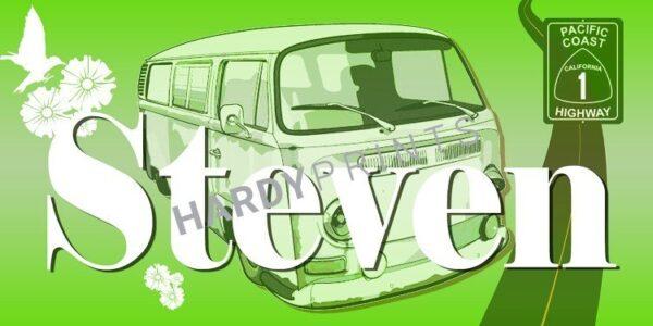 My-Canvas 'Bus limoengroen' met je eigen naam