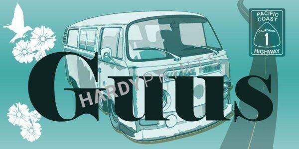 My-Canvas 'Bus groen' met je eigen naam