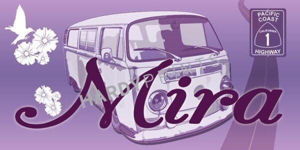 My-Canvas 'Bus paars' met je eigen naam