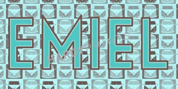 My-Canvas 'Bus patroon' met je eigen naam