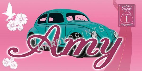 KMy-Canvas 'Kever roze' met je eigen naam