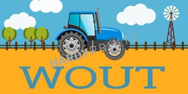 My-Canvas 'Tractor blauw' met je eigen naam