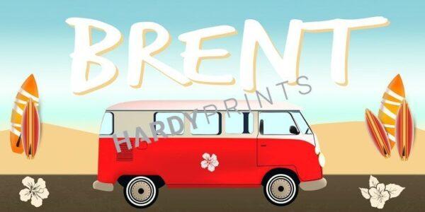 My-Canvas 'Busje rood' met je eigen naam