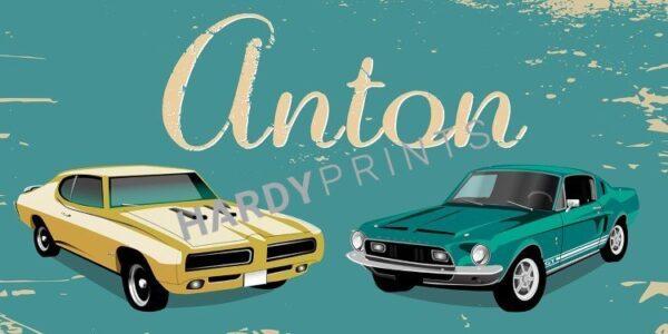My-Canvas 'Retro cars 2' met je eigen naam