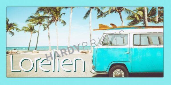 My-Canvas 'Surfbus strand' met je eigen naam , naambord, volkswagen