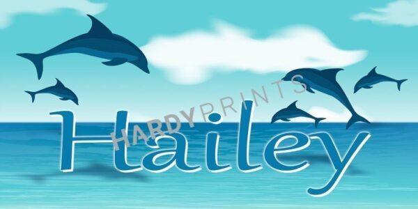 My-Canvas 'Dolfijn blauw' met je eigen naam