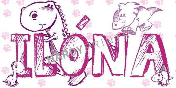 My-Canvas 'Dino's paars' met je eigen naam
