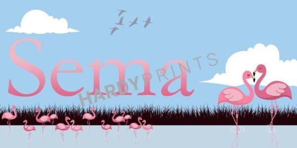 My-Canvas 'Flamingo blauw' met je eigen naam