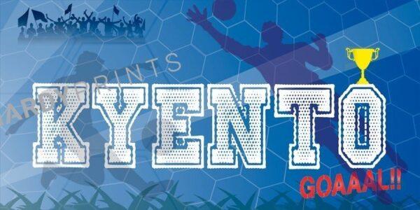 My-Canvas 'Voetbal blauw' met je eigen naam