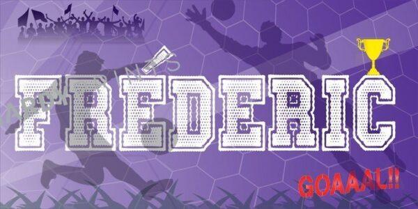 My-Canvas 'Voetbal paars' met je eigen naam