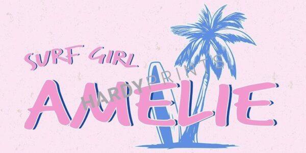 My-Canvas 'Surf girl' met je eigen naam