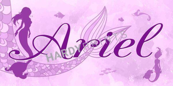 naambord, muurdecoatie,My-Canvas 'Zeemeermin roze' met je eigen naam