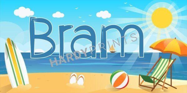 naambord, muurdecoratie, My-Canvas 'Strand' met je eigen naam