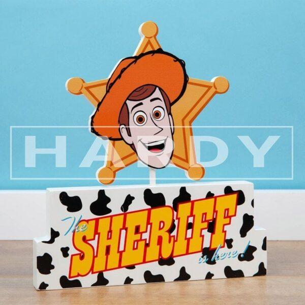 Tekstblok Woody, The Sheriff is here!