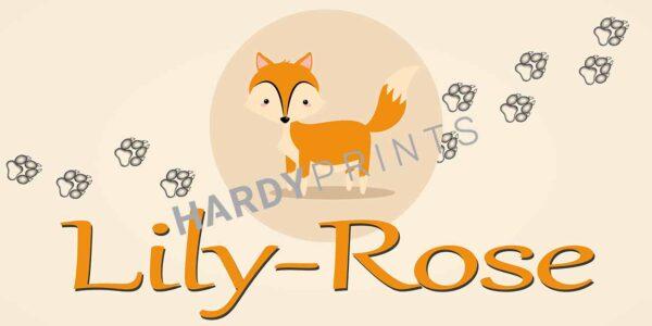 My-Canvas 'Vosje, oranje letters' met je eigen naam