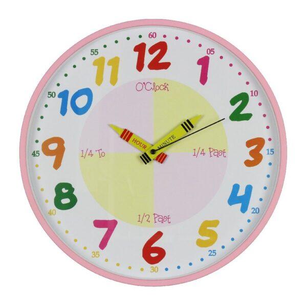 Leer de tijd klok roze