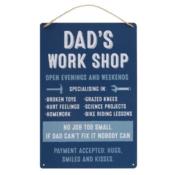 dad's work shop - tekstplaat