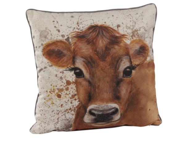 kussen koe, decoratie, textiel, hardyprints, zonhoven