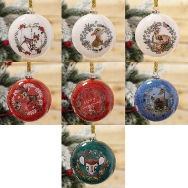 Disney Bambi Enchanted Forest Set of 7 Glitter Baubles - kerstballen Bambi en Stamper - Disney