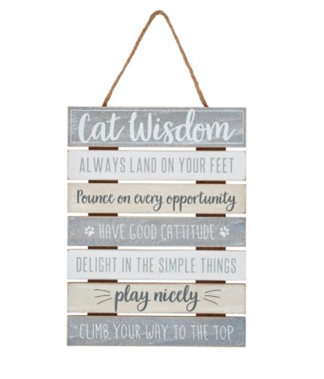 cat wisdom - spreuk voor de kat - decoratie - houten tekstplaat