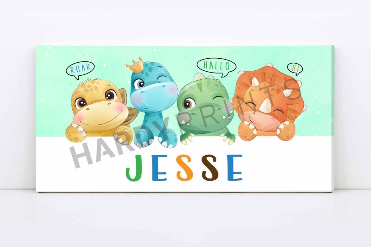 my-Canvas met naam - dinosaurus - kinderkamer decoratie