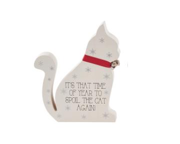 houten kat met tekst - Kerstmis decoratie
