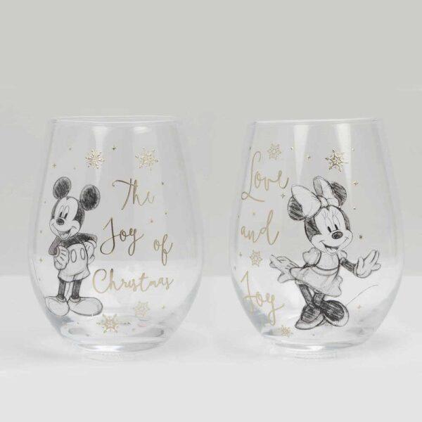 glazen mickey en minnie mouse kerst