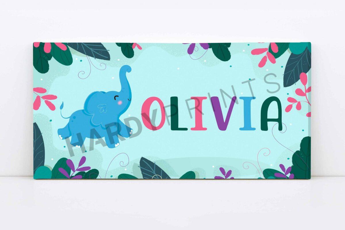 my-Canvas met naam -olifant - kinderkamer decoratie