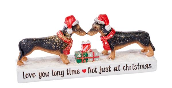 beeldje teckels met kerst