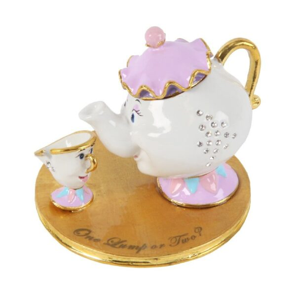 Chip en Mrs Potts trinket box - belle en het beest - disney beeldje en doosje