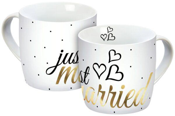 mok of tas just married - geschenk bij een huwelijk of trouw