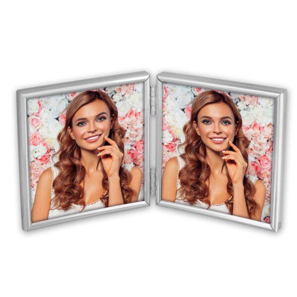 fotokader 2x10x10 zilver - doodsprentje, gedenkkaartje of foto