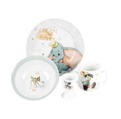 ontbijtset Disney - Dumbo Pinochio, Bambi en Stamper - Porcelein