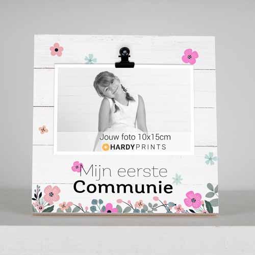 fotoblok, mijn eerste communie bloemen roze - geschenk - meter en peter