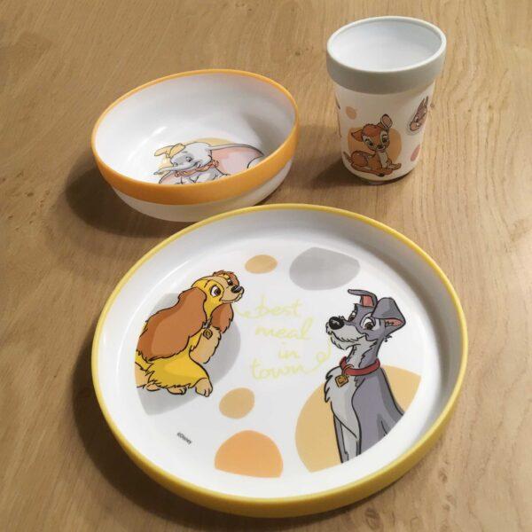 eetset Disney Figuren, antislip, bord, kom en beker