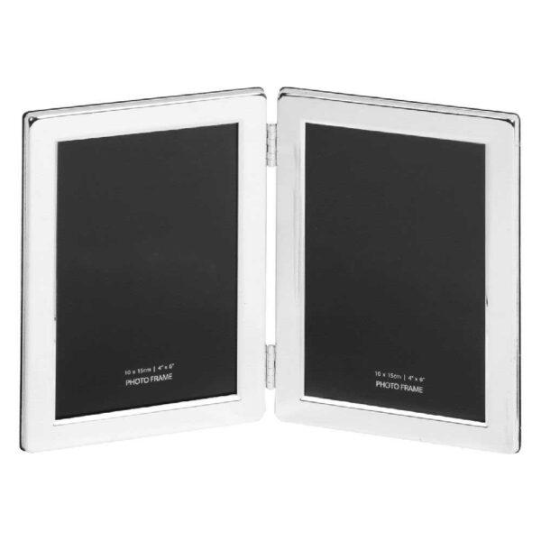 tweeluik - dubbel fotokader 10x15 zilver
